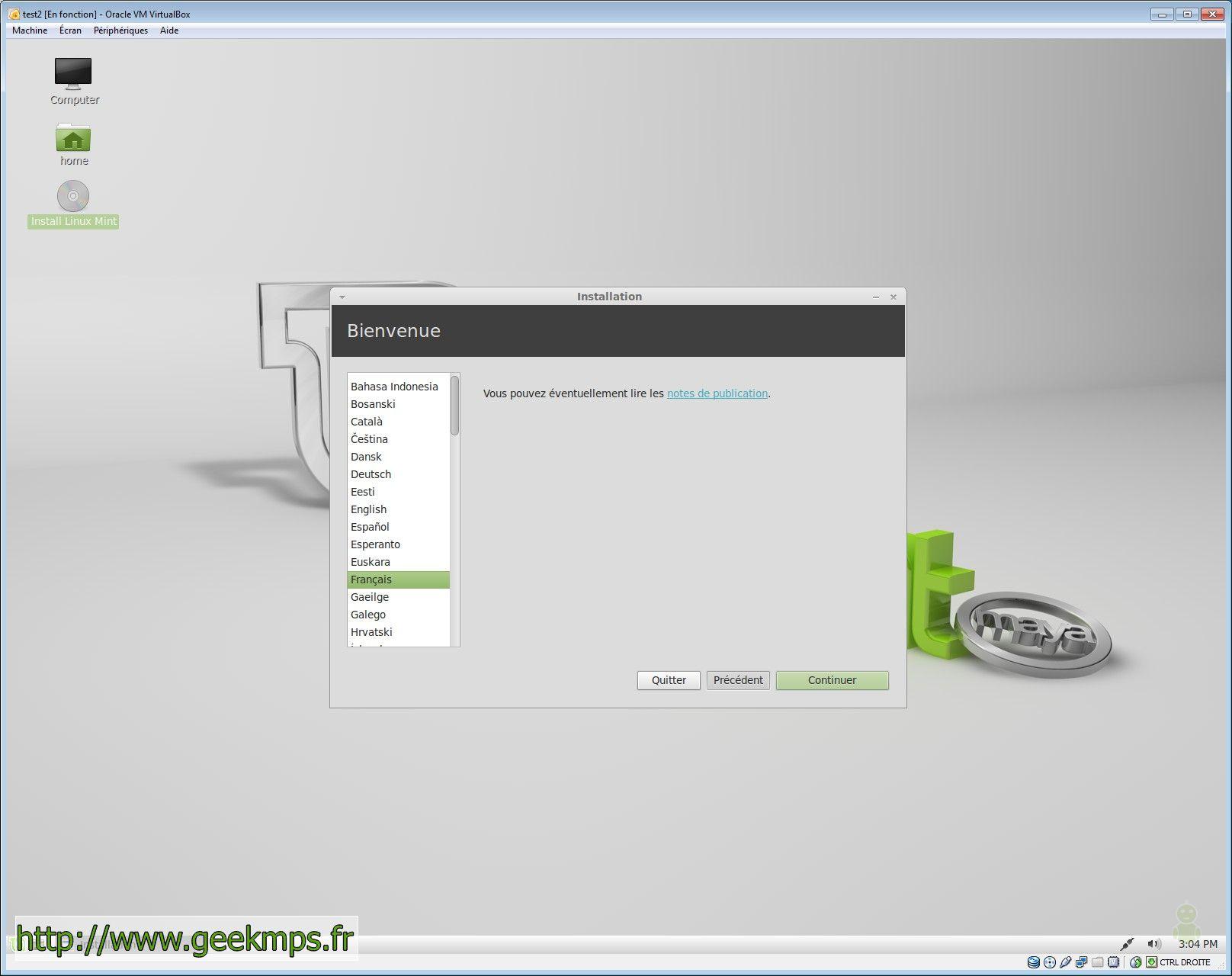 l'installation de linux mint 13 aux côtés de Windows XP