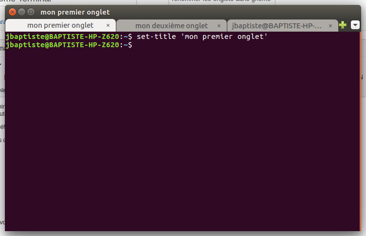 renommer onglets gnome terminal