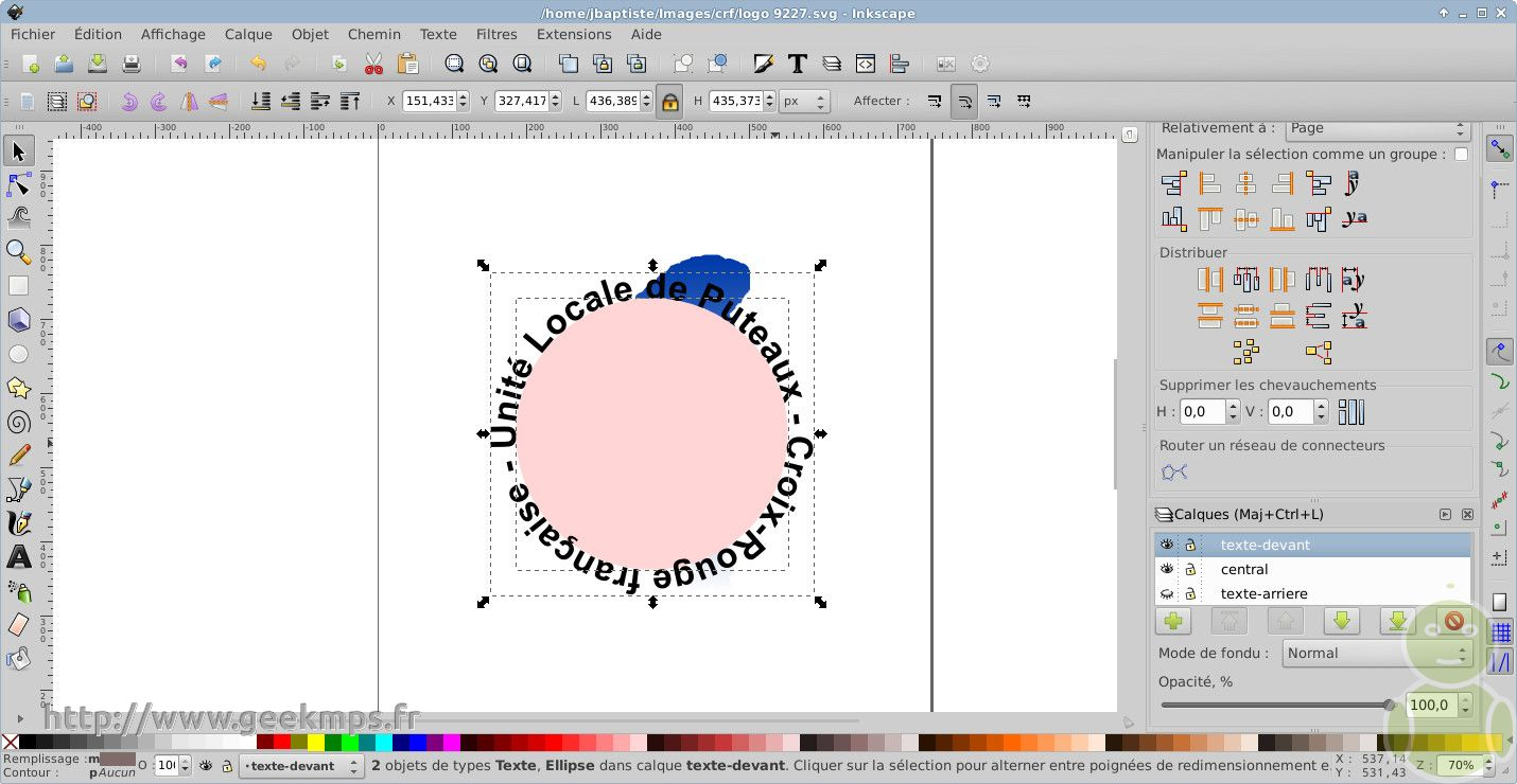 inkscape un logo avec un texte arrondi aplati